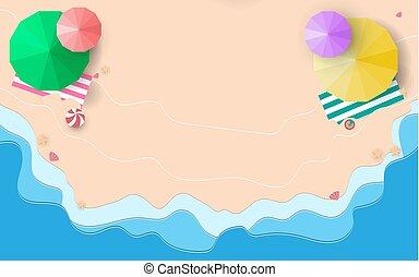 青, 傘, ヒトデ, 上, 海, イラスト, バックグラウンド。, 砂, ベクトル, 浜, 光景