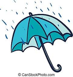 青, 傘, ベクトル, illustration., 色