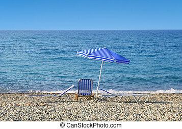 青, 傘, 太陽, 空, sunbeds, 海 前部