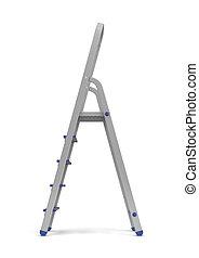 青, 備品, バックグラウンド。, はしご, 金属, 側, レンダリング, ステップ, 白, 3d, 建築者, 光景