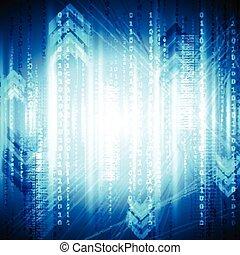 青, 光沢がある, ベクトル, 技術, 背景