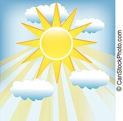 青, 光線, 太陽, 空, 曇り, バックグラウンド。
