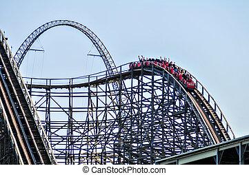 青, 公園, rollercoasters, 娯楽, 空
