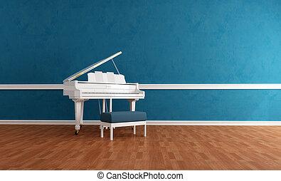 青, 内部, 白, ピアノ, gran