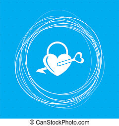 青, 円, シルエット, のまわり, 単純である, 錠, 抽象的, door., text., icons., 形, 場所, 背景, heart., あなたの