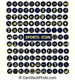 青, 円, セット, アイコン, 黄色, スポーツ, ベクトル