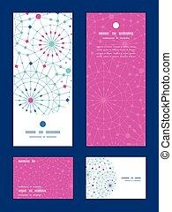 青, 円, セット, 芸術, 感謝しなさい, 縦, パターン, 抽象的, ベクトル, フレーム, 招待, カード, ...