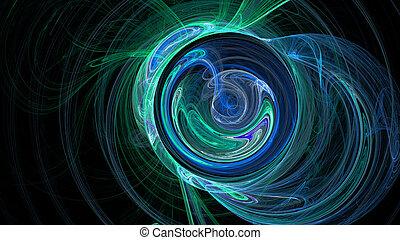 青, 円, 抽象的, カーブ, 緑の背景