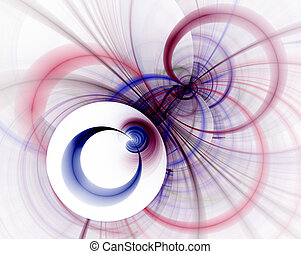 青, 円, 抽象的, レンダリング, フラクタル, 赤