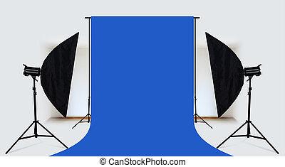 青, 写真 装置, 照明, スタジオ, 背景