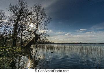 青, 冬の性質, 日光, 空, 湖, 予備