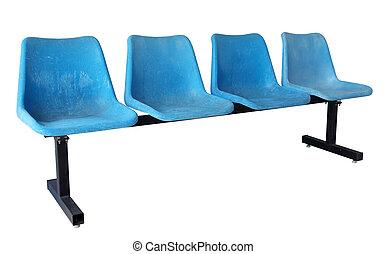 青, 切り抜き, 椅子, 隔離された, プラスチック, 道, 白