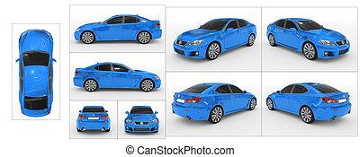 青, 切り離された, すべて, 光景, 自動車, -, 隔離された, コレクション, 前部, ガラス, 背中, 上, 染められる, ペンキ, 特徴, 白, ボーダー, 側