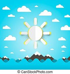 青, 切口, 雲, 太陽, 波, 空, 海洋, ペーパー, 海