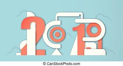 青, 切口, craft., デジタル, 数, 新しい, 装飾, バックグラウンド。, ペーパー, デザイン, イラスト, 年, 2019, カリグラフィー, ベクトル, style., 最小である, 幸せ