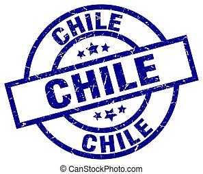 青, 切手, グランジ, ラウンド, チリ