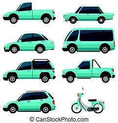 青, 別, 色, ライト, 交通, タイプ