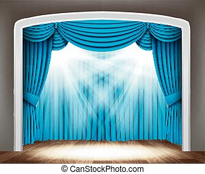青, 劇場, スポットライト, 古典である, 床, 木, カーテン