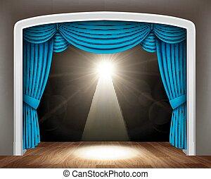 青, 劇場, 古典である, 床, 木, カーテン, スポットライト