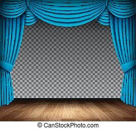 青, 劇場, 古典である, 床, 木, 背景, カーテン, 透明