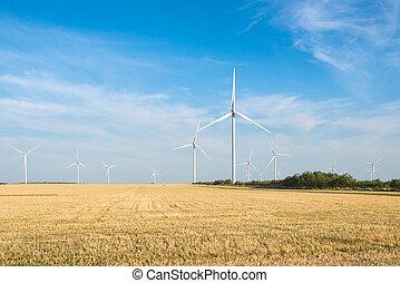 青, 力, sky., -, エネルギー, source., energy., フィールド, 回復可能, 野生, タービン, 製粉所, 風