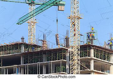 青, 労働者, 建設, 空, サイト