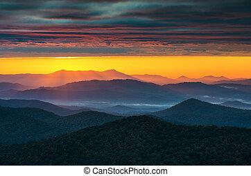 青, 北, nc, asheville, 峰, パークウェイ, 日の出, カロライナ