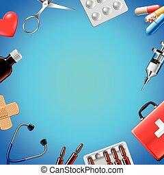 青, 医学, オブジェクト, 背景, 平面図