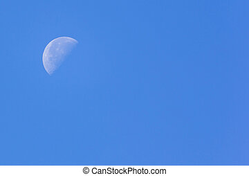 青, 半分, 空, 月