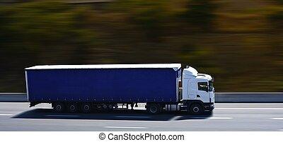 青, 半 トラック, 上に, ハイウェー