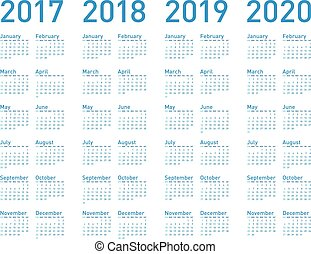 青, 単純である, format., 年, 2017, ベクトル, 2019, 2020, カレンダー, 2018
