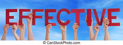 青, 単語, 効果的である, 人々, 多数, まっすぐに, 空, 手を持つ, 赤