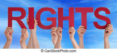青, 単語, 権利, 多数, まっすぐに, 人々, 空, 手を持つ, 赤
