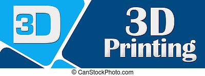 青, 印刷, 円形にされる, 正方形, 3d