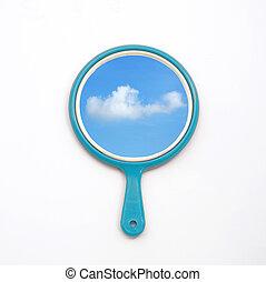 青, 反射, 隔離しなさい, 空, 手 ミラー, 白い雲