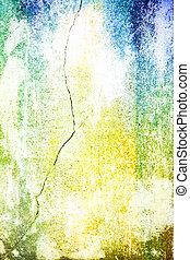 青, 古い, ぼろぼろ, ブラウン, 抽象的, パターン, 黄色, 背景, textured, 白, wall:, 背景
