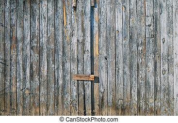 青, 古い, フェンス, 木製である, 薄れていった, ドア