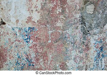 青, 古い, ペイントされた, 黄色, 壁, 錆ついた, colors., 背景, textured, 赤