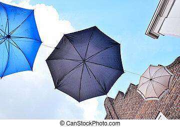青, 古い, 傘, に対して, 空
