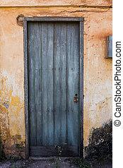 青, 古い, 壁, 家, 黄色いドア