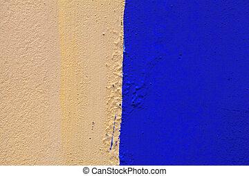 青, 古い, 壁, 黄色, ペイントされた, 色