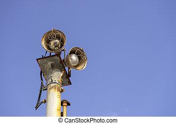青, 古い, 空, ランプ, 通り, 背景