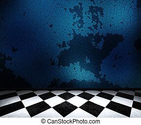 青, 古い, 部屋, 背景