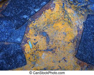 青, 古い, rust., ペイントされた, middle., 抽象的, 木, 金属, 黄色の背景, 小さい, 明るい, 背景, 手ざわり, 表面, 腐食, 葉