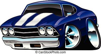 青, 古典的な 車, 漫画, 海原, コバルト, アメリカ人, ベクトル, イラスト, 筋肉
