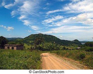 青, 台なし, 空, 雲, 風景, 田舎