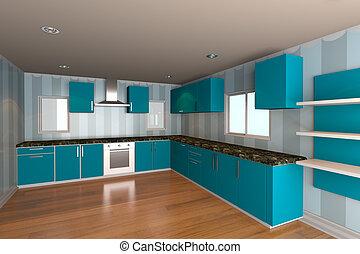 青, 台所, 壁紙, 部屋