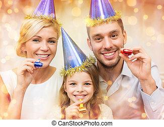 青, 吹く, 家族, 帽子, 好意, 角, 微笑