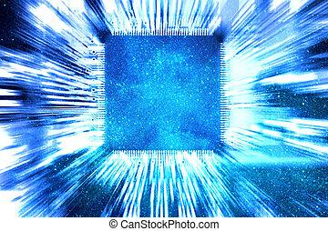 青, 回路, コンピュータ板, 背景