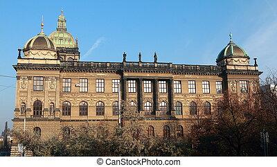 青, 国民, チェコ, プラハ, 博物館, 空, 共和国, 背景, 日